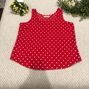 2/$12 Red and white polka dot tank XL